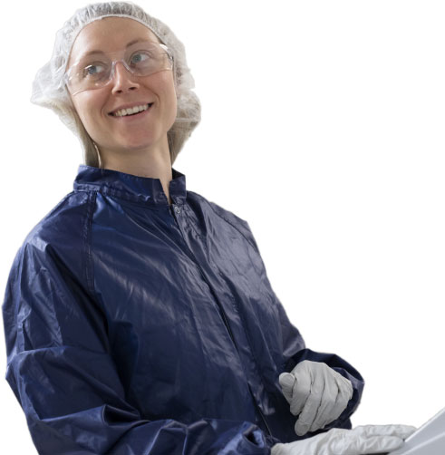 woman wearing cleanroom suit